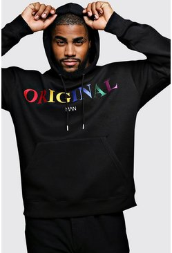 "Sudadera con capucha con bordados de marca ""MAN"" Big And Tall, Negro, Hombre"