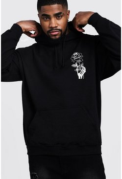 Big & Tall Wilted Rose Print Hoodie, Black, Мужские