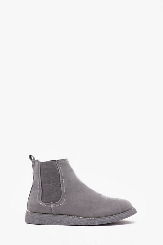 Faux Suede Wedge Sole Chelsea Boot