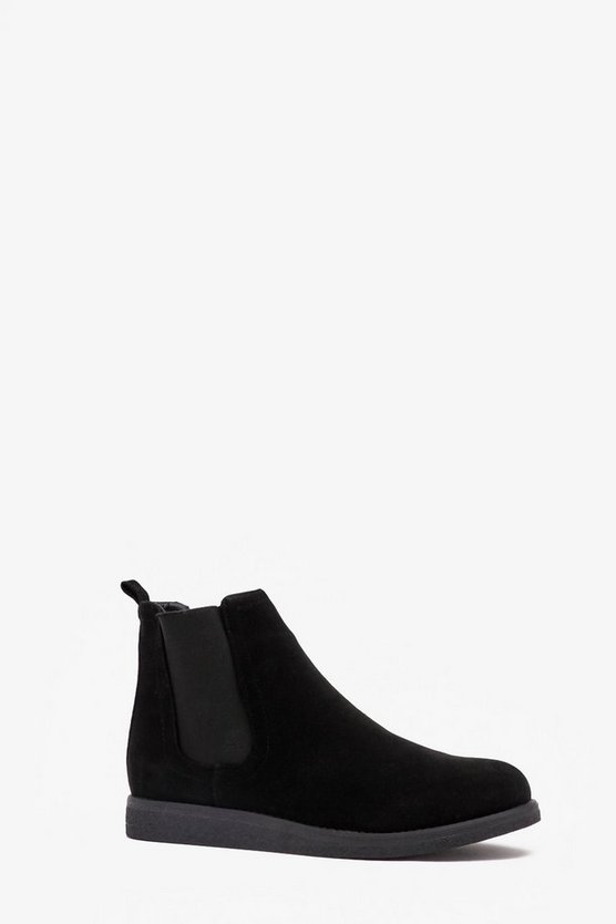 Black Faux Suede Wedge Sole Chelsea Boot