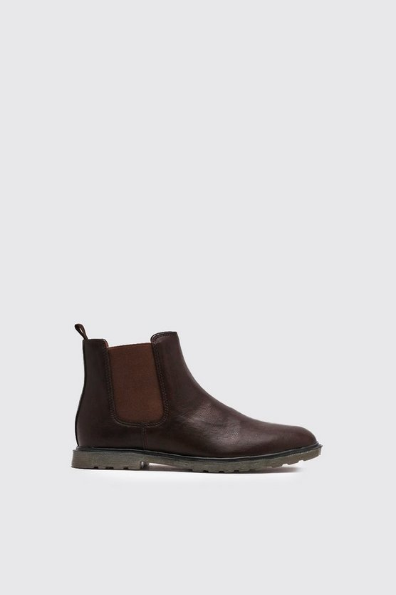 Mens Brown Waxy Faux Leather Cleated Sole Chelsea Boot