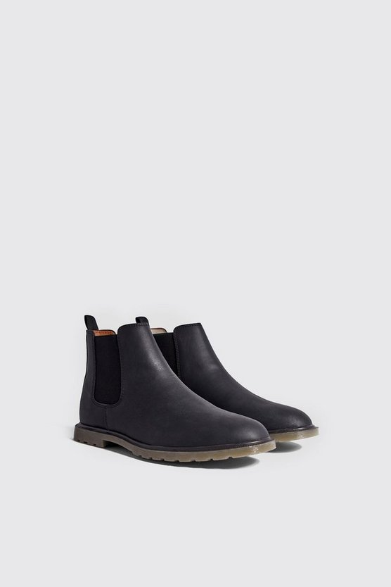 Waxy Faux Leather Cleated Sole Chelsea Boot