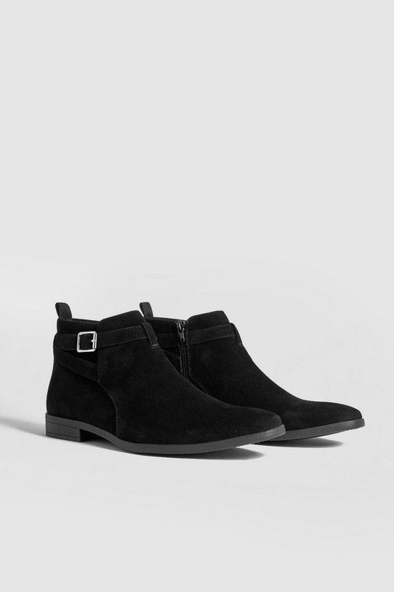 Faux Suede Chelsea Boot With Strap