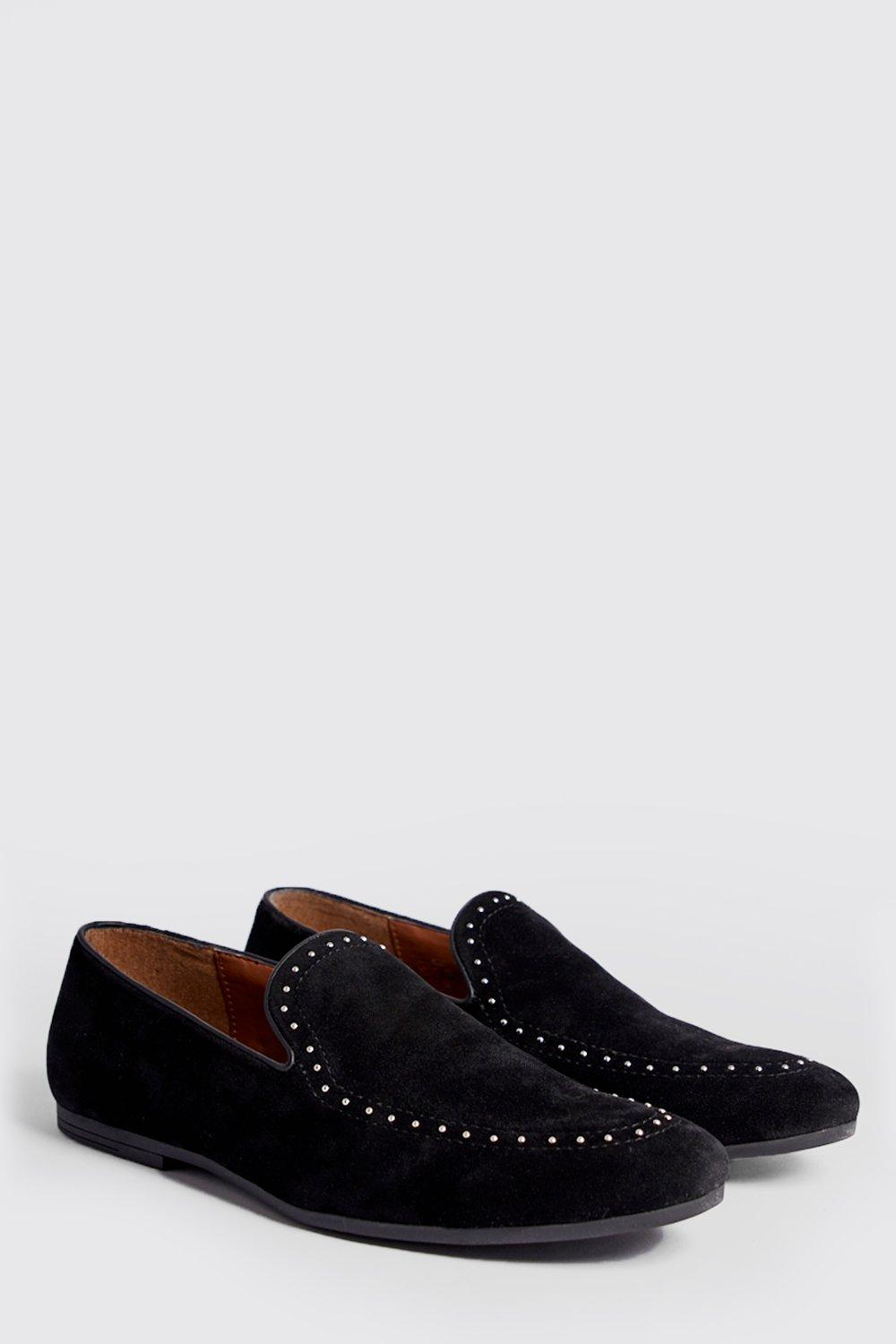 Studded Top Line Faux Suede Loafer