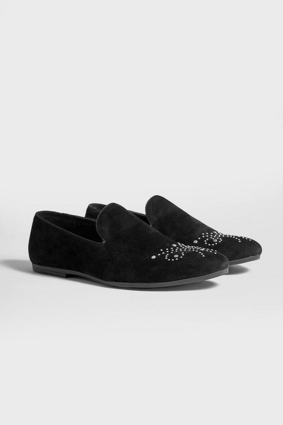 Mens Black Studded Toe Faux Suede Loafer