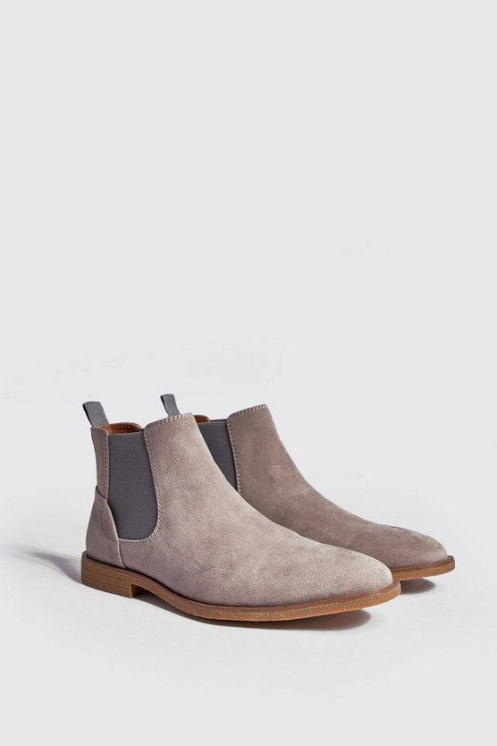Mens Grey Faux Suede Crepe Sole Chelsea