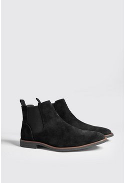 Mens Black Faux Suede Crepe Sole Chelsea