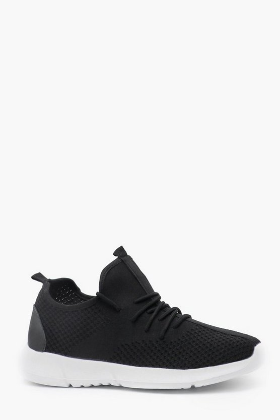 Mens Black Fly Knit Running Trainer