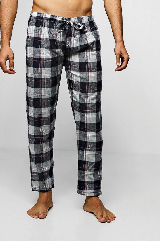 Flannel Check Lounge Pants by Boohoo Man