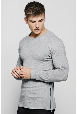 Mens Grey Crew Neck Knitted Side Zip Jumper