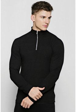 Black Half Zip Funnel Neck Sweater