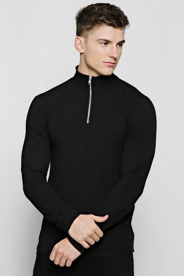 Mens Black Half Zip Funnel Neck Jumper