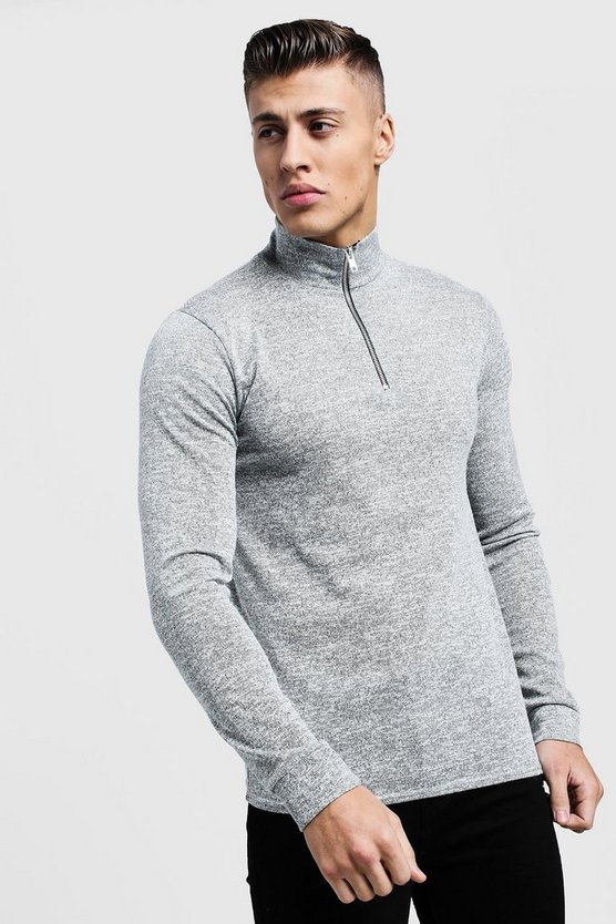 Half Zip Funnel Neck Jumper