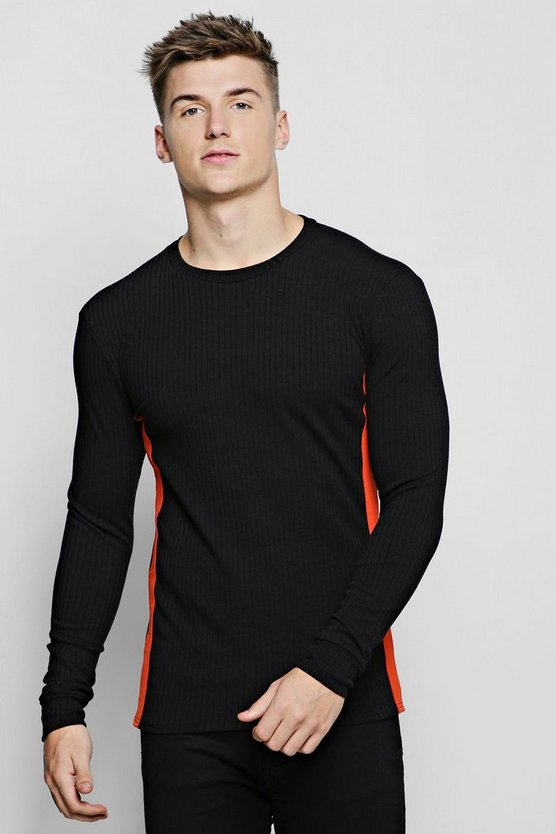 Ribbed Crew Neck Sweater With Side Tape