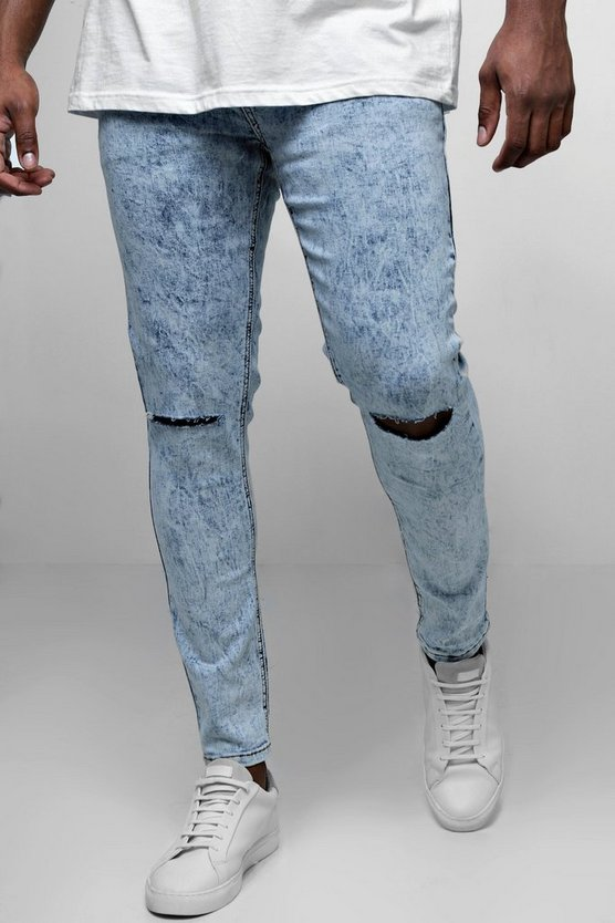 Big And Tall Acid Wash Ripped Skinny Fit Jeans