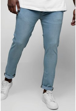 Mens Pale blue Big And Tall Skinny Fit Jeans With Turn Up