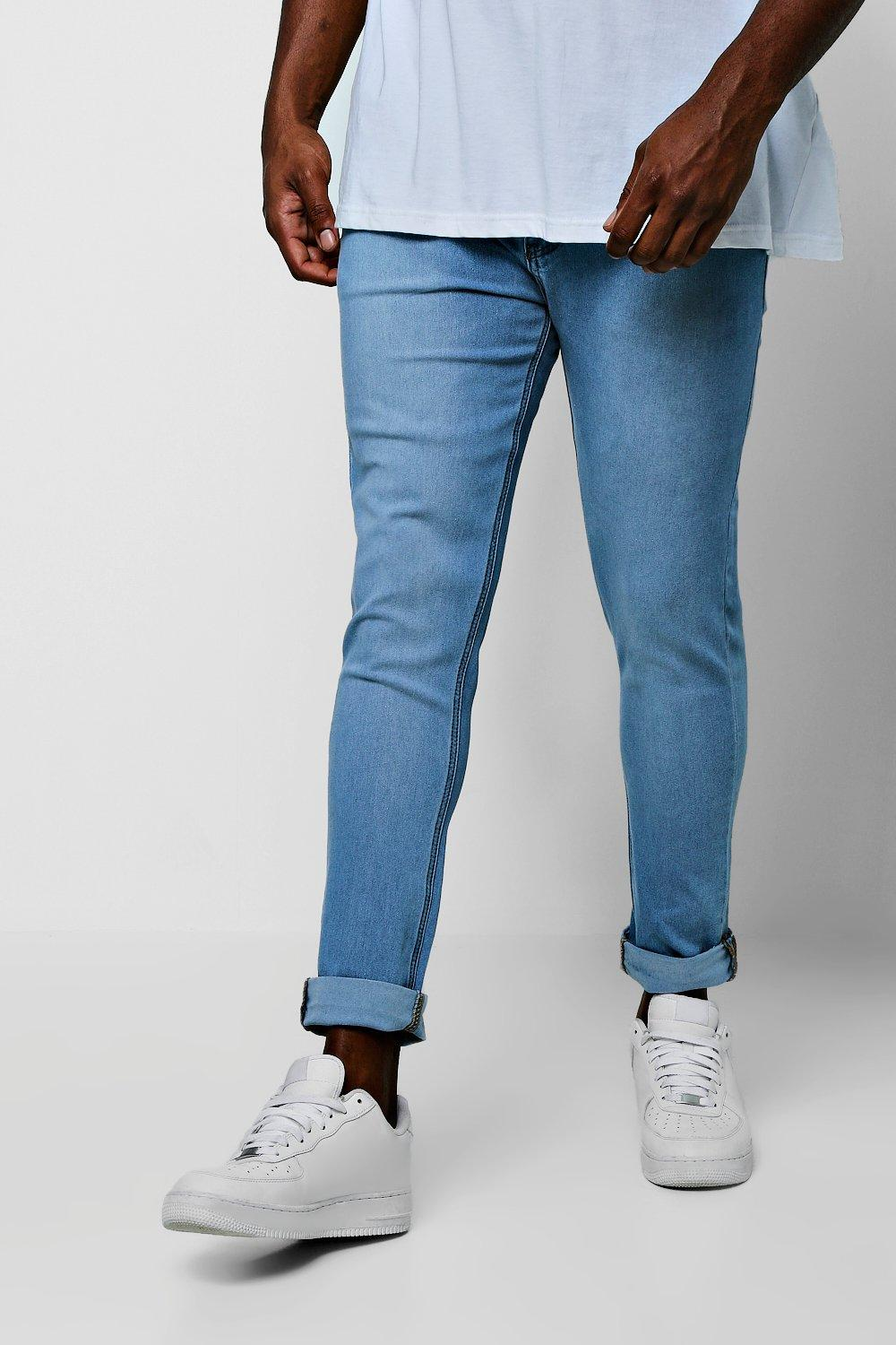 Big And Tall Skinny Fit Jeans With Turn Up