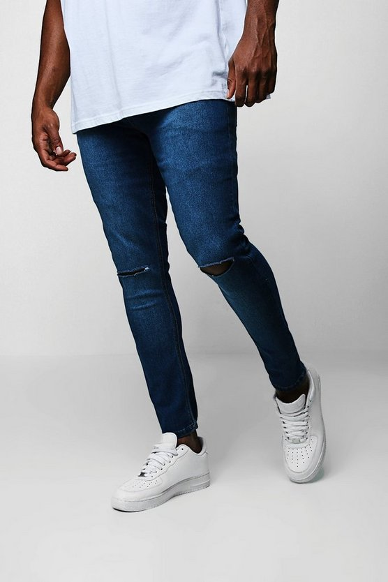 Big And Tall Ripped Knee Skinny Fit Jeans