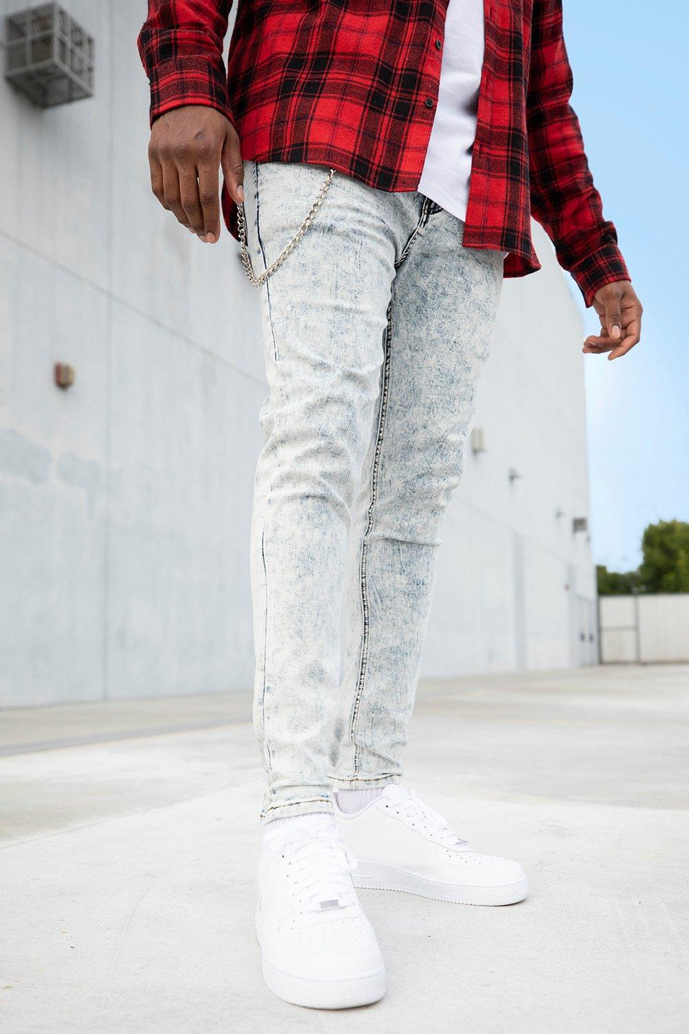 Big And Tall Acid Wash Skinny Fit Jeans