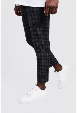 Mens Grey Big & Tall Woven Cropped Jogger With Elasticated Waist