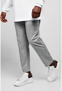 Mens Grey Big & Tall Woven Cropped Jogger With Side Piping