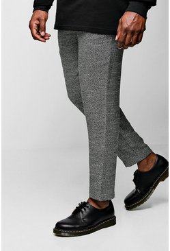 Mens Black Big & Tall Smart Cropped Jogger Pants In Herringbone