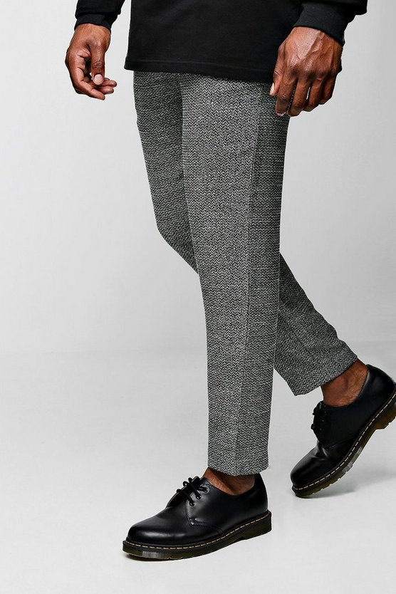 Mens Black Big & Tall Smart Cropped Jogger Trouser In Herringbone