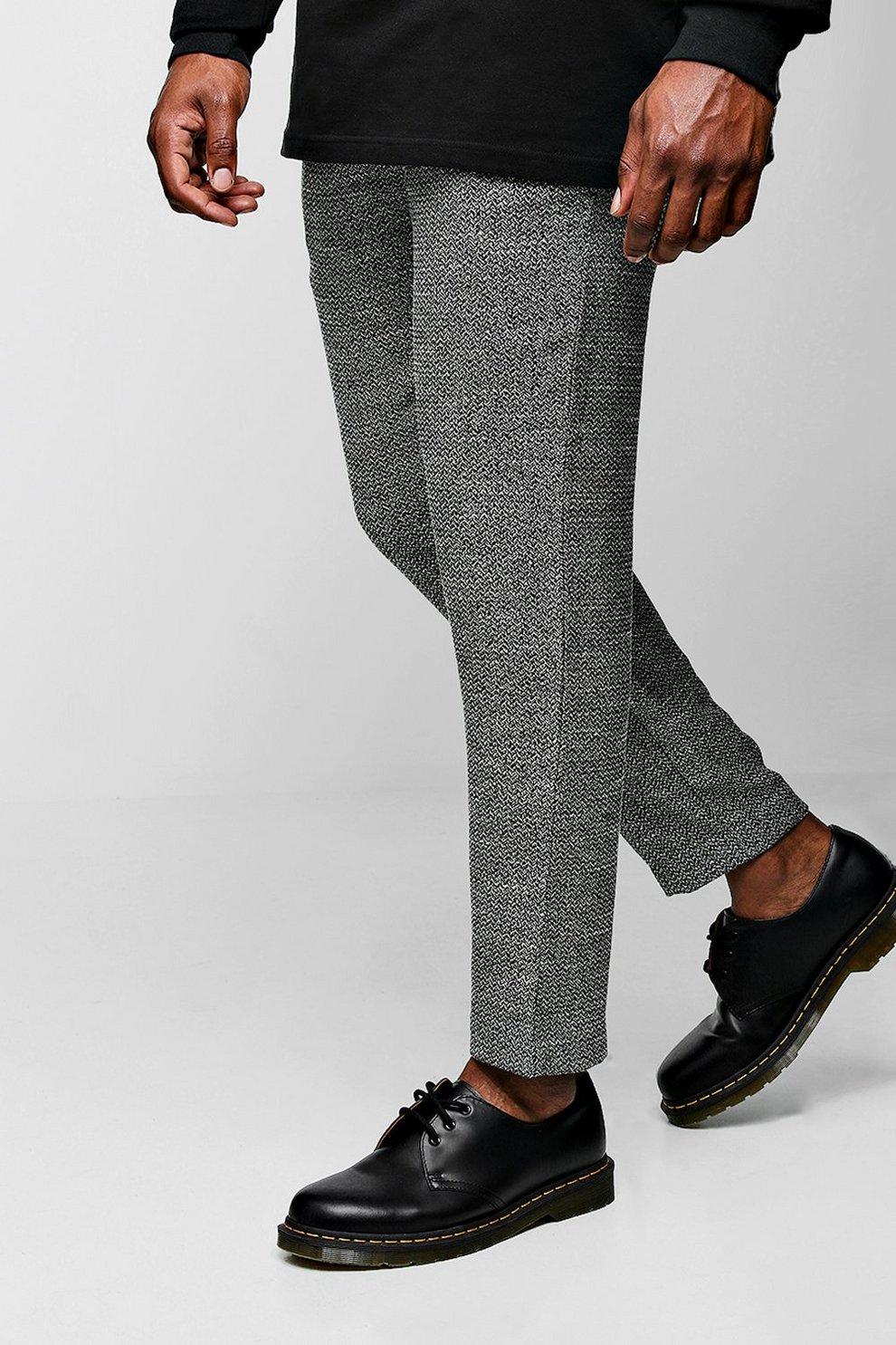 3fa1051e70f Mens Black Big   Tall Smart Cropped Jogger Pants In Herringbone