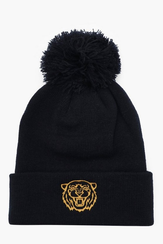 Mens Black Gold Tiger Embroidered Beanie