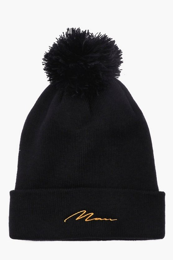 MAN Gold Embroidered Bobble Beanie