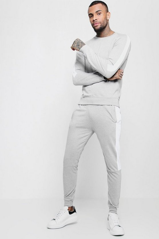 Sweater Tracksuit With Contrast Side Panels