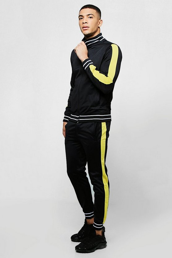 Tricot Sports Rib Tracksuit With Contrast Panels
