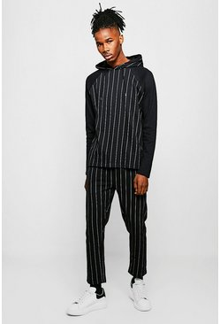 Mens Black Pinstripe Printed Hooded Tracksuit