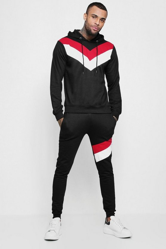 Mens Black Spliced Colour Block Hooded Tracksuit