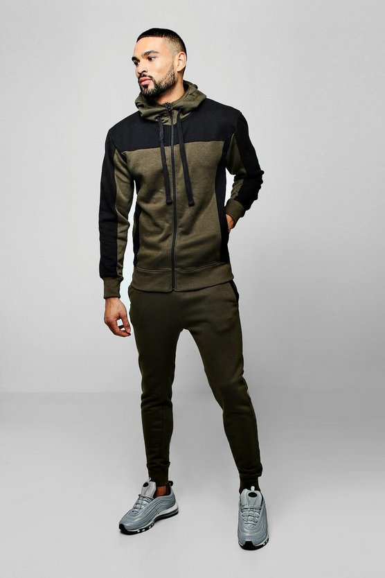 Mens Khaki Zip Hooded Tracksuit With Contrast Panels