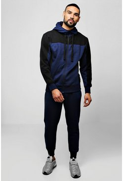 Mens Navy Zip Hooded Tracksuit With Contrast Panels
