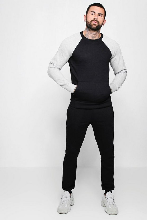 Contrast Sleeve Sweater Tracksuit by Boohoo Man