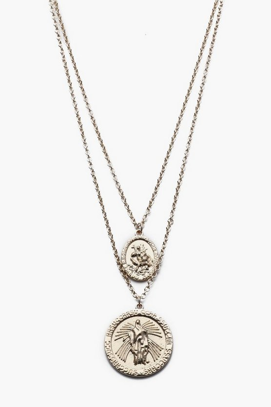Double Saint Emboss Coin Necklace