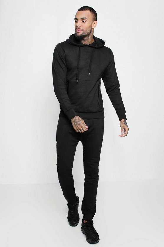 Skinny Fit Hooded Tracksuit With Sports Zip