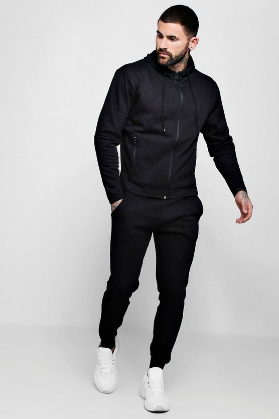 Zip Hooded Tracksuit With Contrast Cuffs