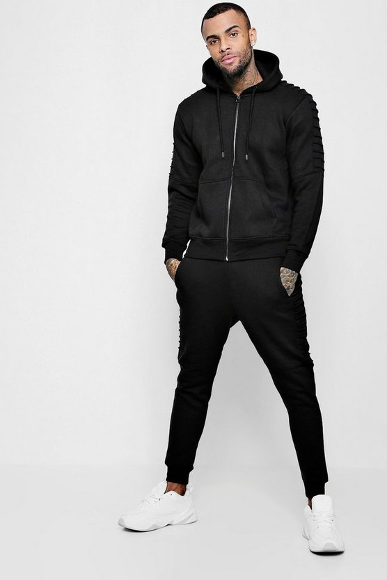 Zip Through Tracksuit With Biker Detail