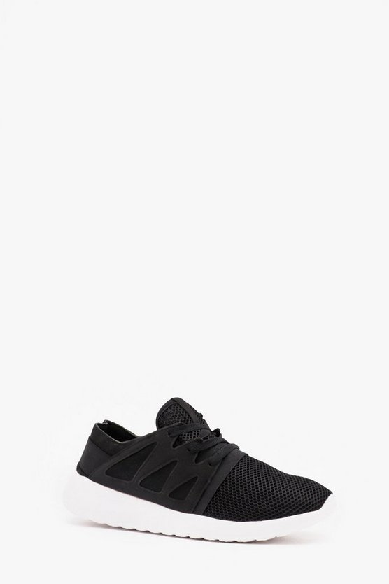Mens Black Mesh Trainer With Side Detail