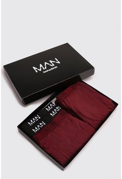 Mens Burgundy Boxer & Lounge Pants MAN Branded Gift Box
