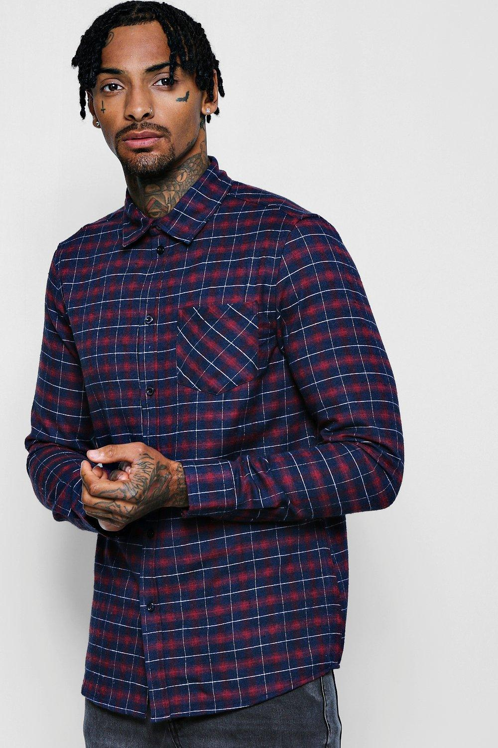 Pink Check Long Sleeve Regular Fit Shirt