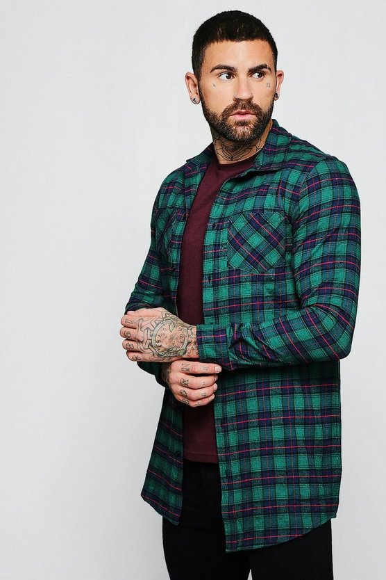 Green Check Long Sleeve Shirt In Longline
