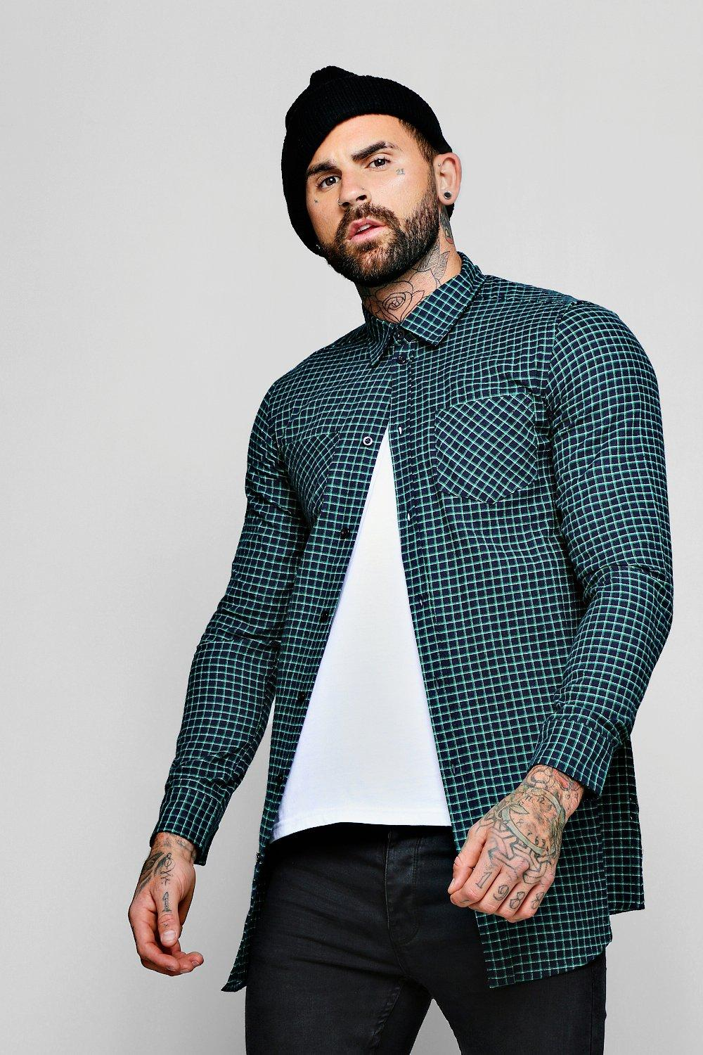Navy Check Long Sleeve Shirt In Longline