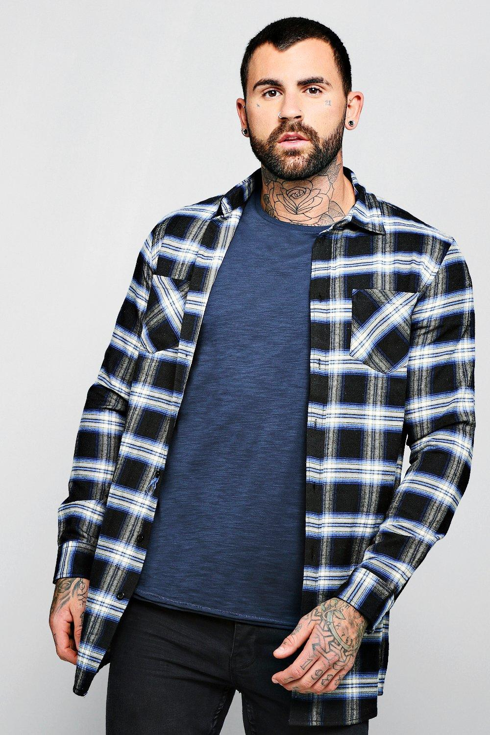 Black Check Long Sleeve Shirt In Longline