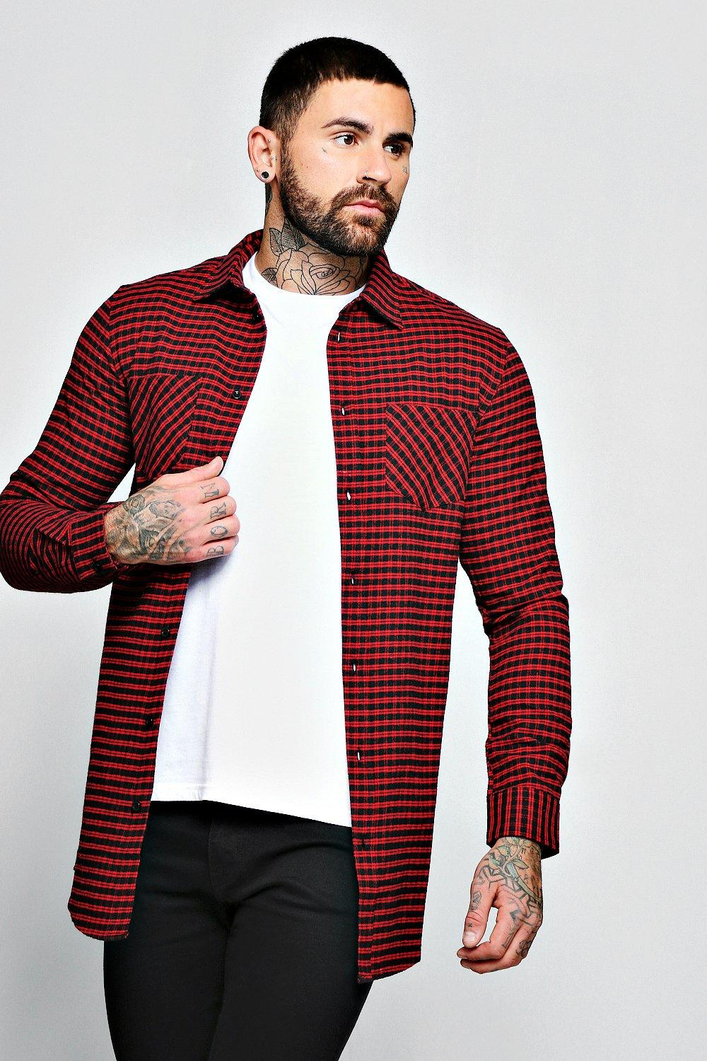 Red Check Long Sleeve Shirt In Longline