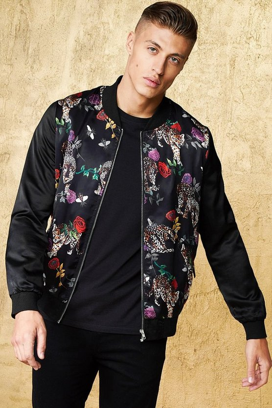 Jaguar Print Sateen Bomber Jacket