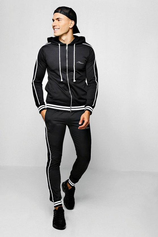 MAN Signature Zip Through Hooded Tracksuit